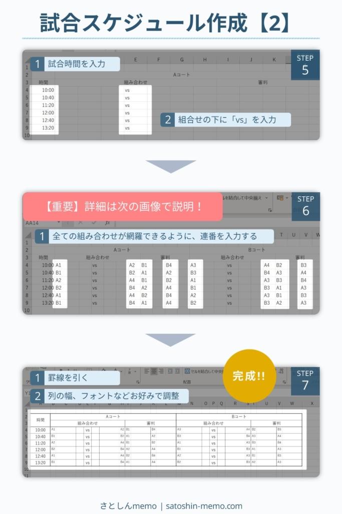 試合スケジュール表の作成-2